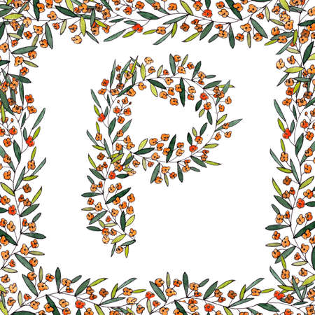 letter P of the english and latin floral alphabet. colorful graphic in square frame on a white background. letter P of sprigs blooming with orange flowers. High quality illustration
