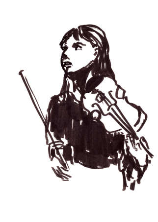 musician girl with violin, graphic black and white drawing on a white background. High quality illustration Reklamní fotografie