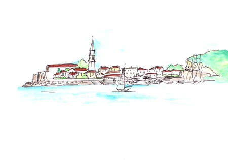 Medieval old town on the Adriatic Sea, graphic color travel sketch, copy space. High quality illustration