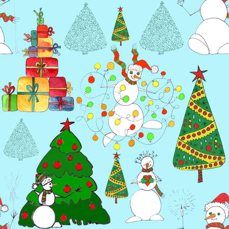 Christmas seamless pattern with snowmen, trees and gifts, graphic color sketch on turquoise background. High quality illustration