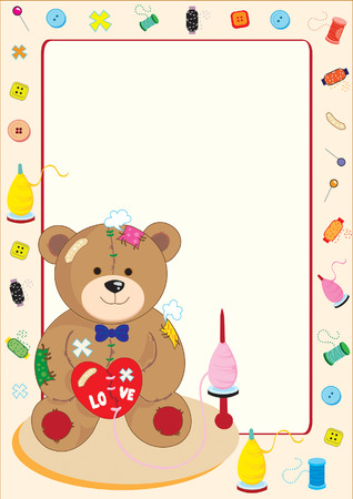 torn heart: a teddy bear doll who has damage body and holding torn heart but around it  Illustration