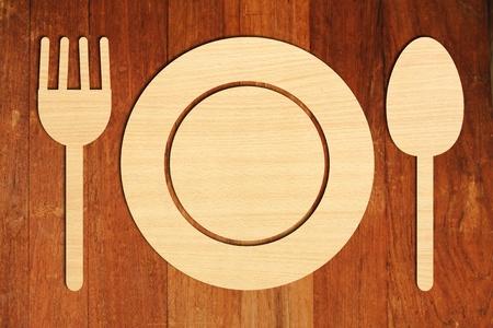 lunchen: bord, vork en lepel
