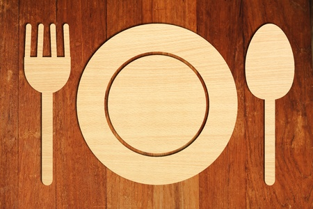 spoon and fork: plate, fork and spoon