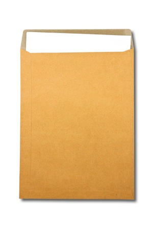 Brown Envelope document with paper on white background  photo
