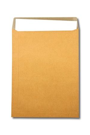 Document enveloppe brune avec du papier sur fond blanc