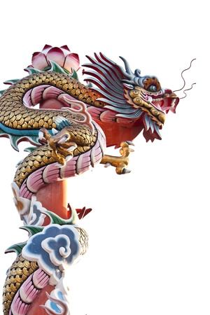 Dragon statue on white background  photo