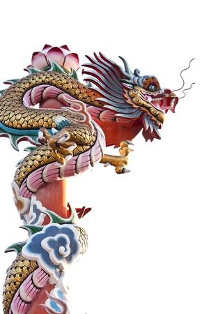 dragon chinois: Statue de dragon sur fond blanc