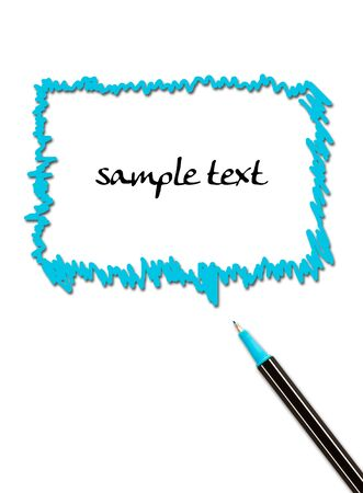 comics bubble and pen isolated on white background  photo