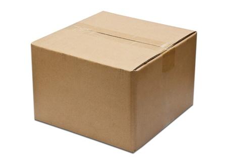 Close brown paper box on white photo