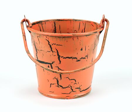 Old bucket isolated on a white background photo