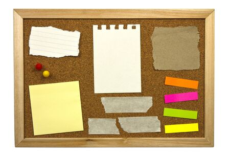 cork sheet: Blank memo notes on cork board