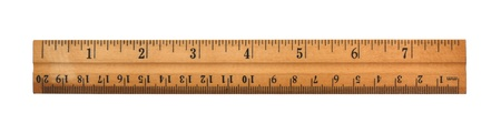 inches: A wood ruler isolated over a white background