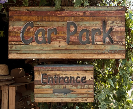 wooden parking sign photo