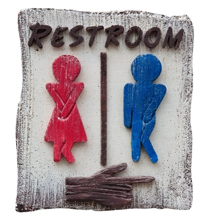 toilet door: Sign of men and women toilet, rest room