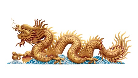 golden Dragon on white background  photo