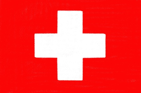 Switzerland flag drawing by pastel on charcoal paper  photo