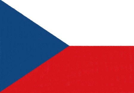 Czech Republic flag drawing by pastel on charcoal paper  photo