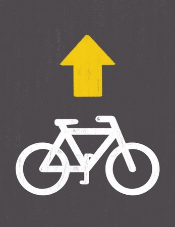 grunge Bicycle Road Sign Stock Photo