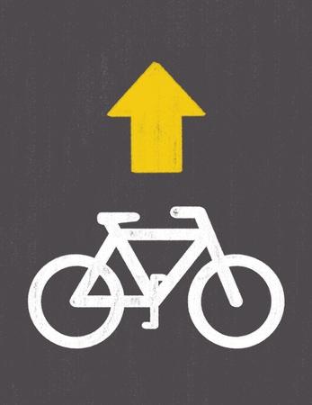 grunge Bicycle Road Sign Zdjęcie Seryjne