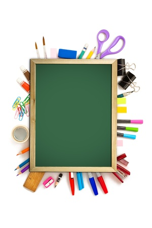 office and student tool with blackboard over white background  photo