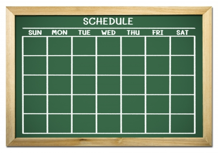 timetable: lavagna con programma e calendario