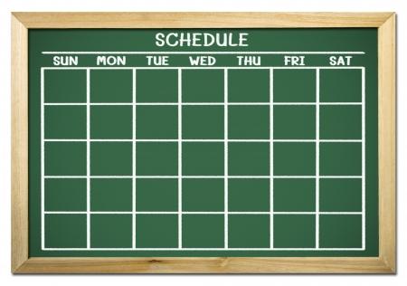 cronogramas: pizarra con el horario y el calendario Foto de archivo