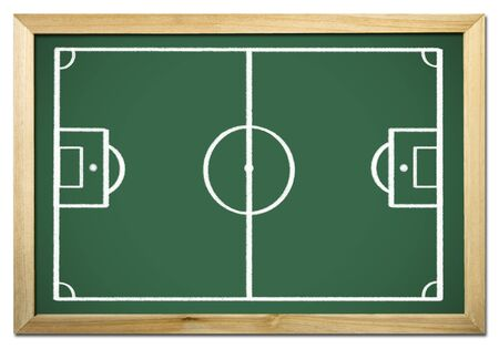 terrain: soccer terrain on chalkboard  Stock Photo