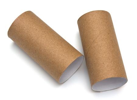 rouleau de papier de salle de bain sur fond blanc Banque d'images