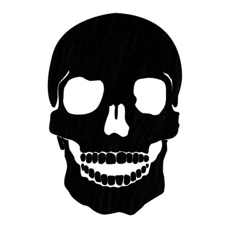 crâne dessin de pastel sur papier de charbon de bois Banque d'images
