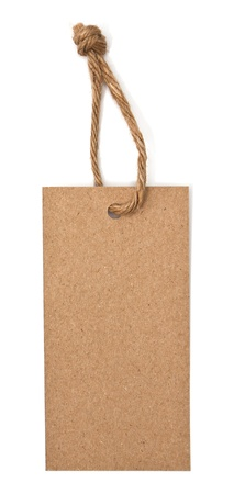 cardboard cutout: stretta di prezzo sull'etichetta in bianco su sfondo bianco