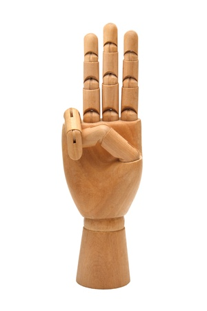 Wooden hand isolated on a white background Stock Photo - 13570908