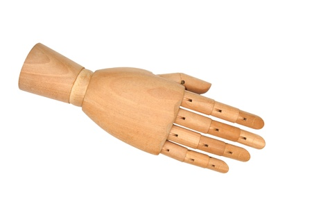 Wooden hand giving a handshake photo