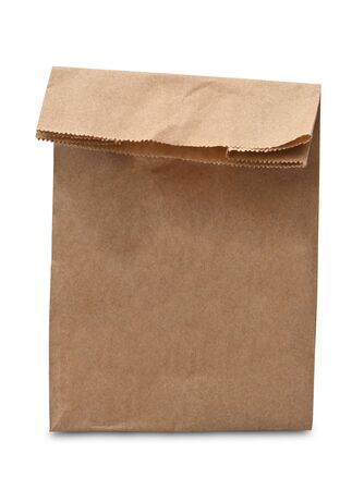 Brown Lunch Bag on White Background  photo
