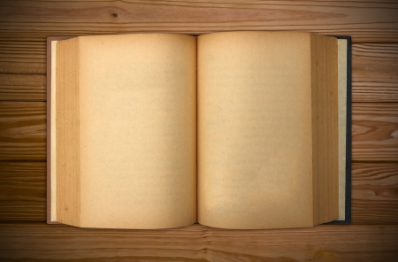 Old book with blank yellow stained pages  Stock Photo - 13839058