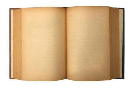 Old book with blank yellow stained pages  photo