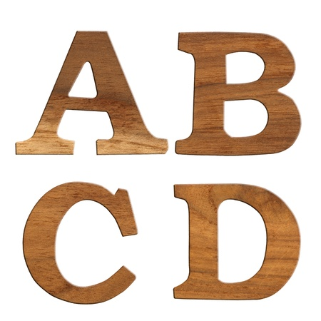 Alphabet made from wood, isolated on white background  photo
