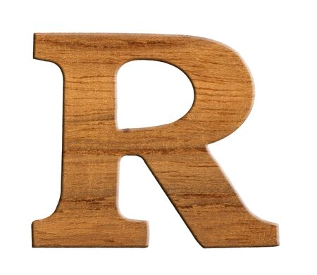 Alphabet made from wood, isolated on white background  photo