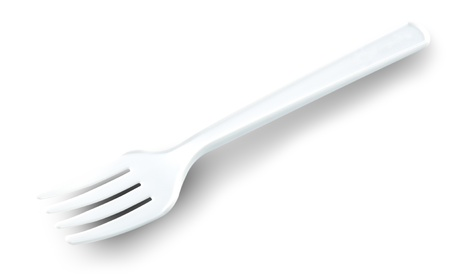 white plastic fork photo