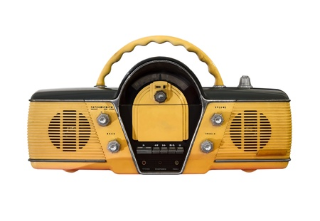 yellow retro radio isolated  photo
