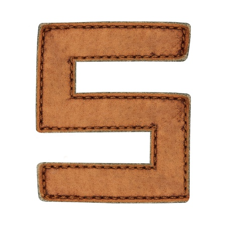 Leather alphabet isolate on white  photo