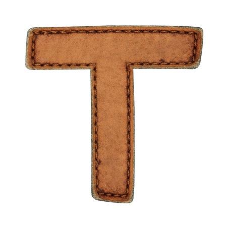 Leather alphabet isolate on white