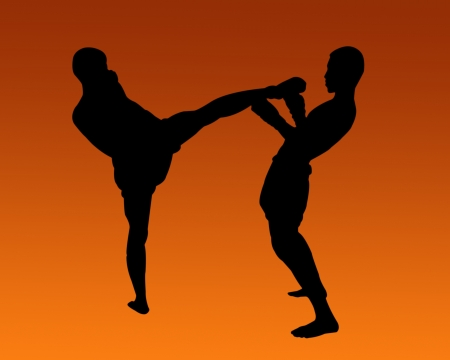 Thai Boxing Silhouette  photo
