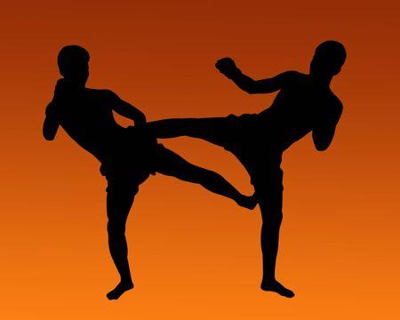 Thai Boxing Silhouette