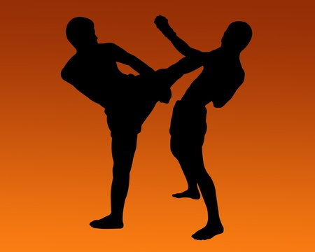 Thai Boxing Silhouette  photo