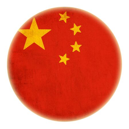 grunge China flag drawing button  photo