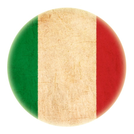 grunge Italy flag drawing button  photo