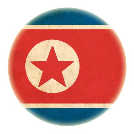 grunge North Korea flag drawing button  Stock Photo - 15109850