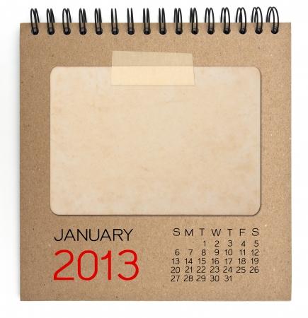 2013 Calendrier brun ordinateur portable avec une photo vierge vieux