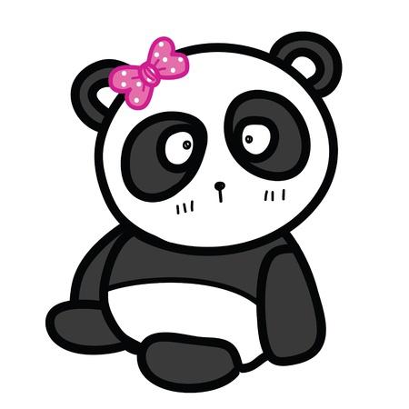 one panda: cute sitting panda with bow vector illustration