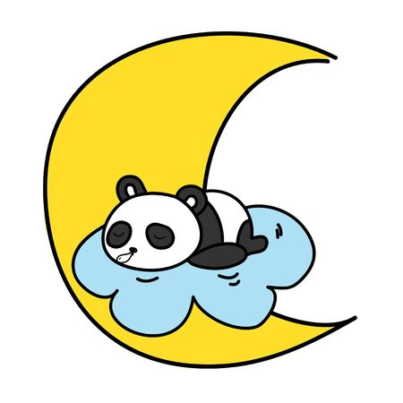 baby panda sleeping on the cloud with the moon vector illustration  illustration
